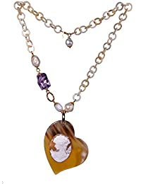 Collar de perlas, plata chapado en oro, amatista, aguamarina, camafeo y corazón de Cuerno