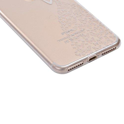 Custodia iPhone 7 Plus ,JIENI Cover fantasia ragazza Silicone Trasparente TPU Flessibile Sottile Protezione Bumper Case per Apple iPhone 7 Plus WM10