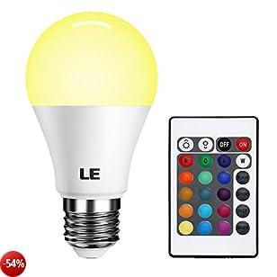 LE Lampadina LED RGB 6W E27, 4 Modalità, 16 Colori RGB Dimmerabile, Pari a lampada ad incandescenza da 40W Telecomando Incluso