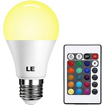 LE RGBW E27 LED Lampen mit Fernbedienung Farbwechsel 6W A60 Dimmbar ...