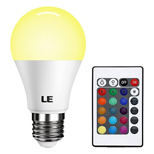 LE Colour Changing LED Light Bulbs E27 Dimmable, 6W RGB Warm White A60 Bulb, 16 Colour Choices, Remote Controller Included, Ambiance Mood Lighting