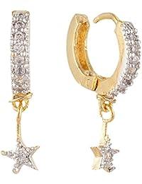 SKN Silver And Golden American Diamond Dangle & Drop Ear Clip Bali Earrings For Women (SKN-3325)