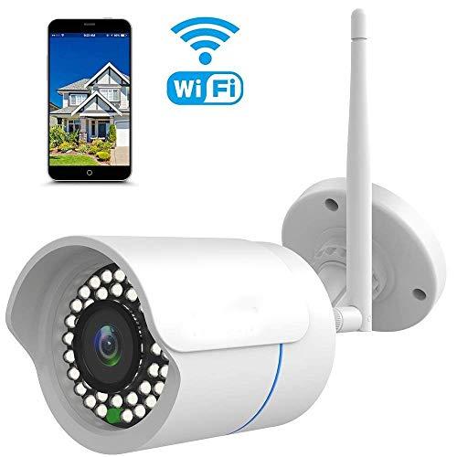 IP Kamera 1080P Nestling® Überwachungskamera für Außen Wasserdicht WLAN Kamera für Außen/LAN & WLAN/WiFi für Outdoor/Indoor,Bewegungserkennung,Unterstützung FTP,Bis zu 128GB SD Karte-Weiß