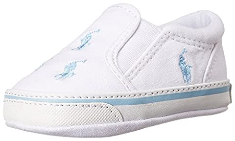 Polo Ralph Lauren Bal Harbour Repeat Layette, Unisex Babies' Walking Baby Shoes, White Canvas/Pastel Blue Ponies, 7 UK