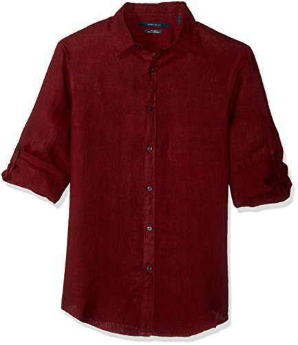 Perry Ellis Herren Solid Linen Roll Sleeve Shirt Hemd, Port, X-Groß -