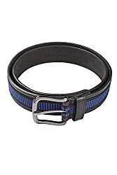 Hamilton Black & Blue Mens Faux Leather Belt