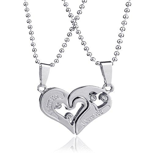 Halsketten-Anhänger-Liebes-Herzen CZ-Puzzlespiel-Halsketten-Silber der (Kostüme Paare Gute)