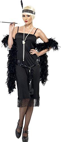 Smiffys, Damen Flapper Kostüm, Kleid, Gürtelschärpe und Stirnband, Größe: M, 28605 (Schuhe Für Ein Flapper Kostüm)
