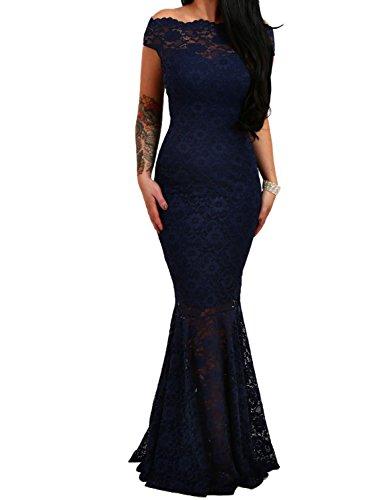 9f797e23ba8aee emmarcon elegante abito cerimonia da donna in pizzo stile sirena vestito  lungo damigella festa-Blue