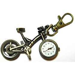 Bronze 3d Bicycle Pocket Key Ring Mini Pendant Clock Watch MY-1380