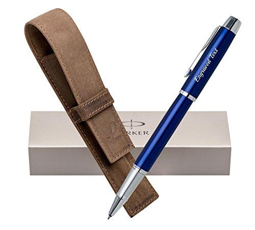 Personalisierte Geschenk Uk Parker Rollerball Pen IM - Blau CT + Leder Tasche Jagd Braun + Box (Leder Schieren)