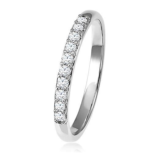 Diamond Line Damen - Ring 375er Gold 10 Diamanten ca. 0,20 ct., Weißgold