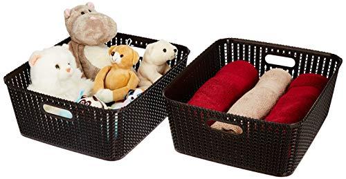 Amazon Brand - Solimo Storage Basket, Set of 2, Large, Brown