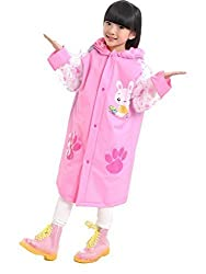 Spring fever Children Boys Girls Trench Rain Jacket Cartoon Hooded Outwear Long Raincoat Pink L (Fit 47.2-51.2 Height)