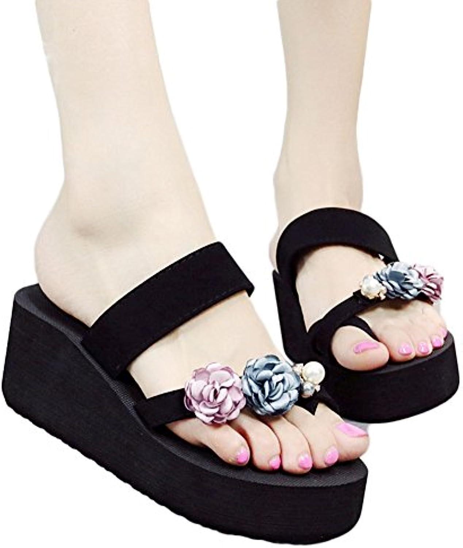 NVXIE Sandalias Mujeres Fondo Grueso Antideslizante Cómodo Temporada de Verano Zapatillas De Moda Salvaje Zapatos...