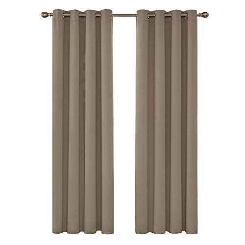 Gardinen Ösenvorhang Blickdicht Vorhang Verdunkelung 245x140 cm Taupe 2er Set ()
