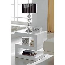 Mueble Auxiliar - Mesas de Centro Auxiliares - Mesita Lacada Blanca DT-2520 - iBERGADA