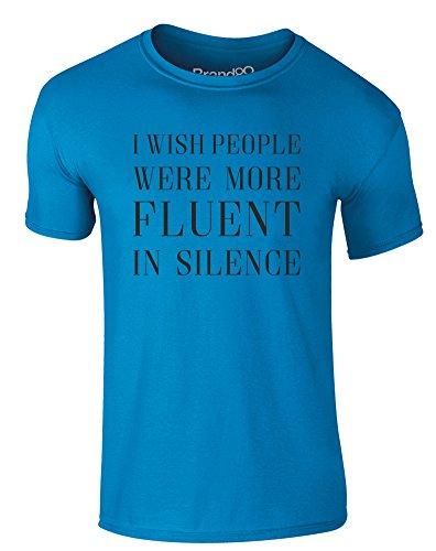 Brand88 - Fluent in Silence, Erwachsene Gedrucktes T-Shirt Azurblau/Schwarz