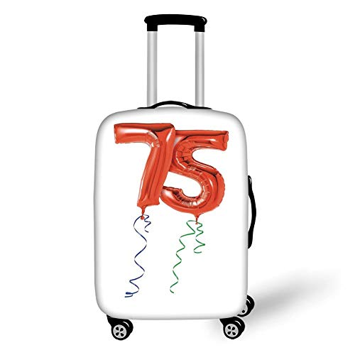 Travel Luggage Cover Suitcase Protector,75th Birthday Decorations,Number Balloons in Red with Curly Ribbons Celebration Mood,Red Blue Green,for TravelL 25.9x37.8Inch