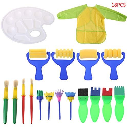Jiay 18-teiliges Set Waschbarer Schwamm-Maler-Bürsten-Set für Kinder, Kleinkinder, Lernspielzeug, Kunst, Zubehör, Geschenke (Kleinkinder Thanksgiving-kunst Für)