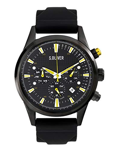 s.Oliver Time Herren Multi Zifferblatt Quarz Uhr mit Silikon Armband SO-3624-PM