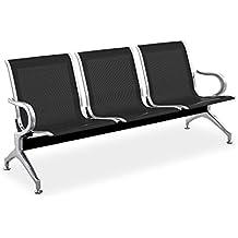 Cablematic - Bancada para sala de espera con sillas ergonómicas negras de 3 plazas