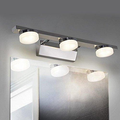 Aoligei Verstellbare LED spiegel schrank lichter energiesparende make-up spiegel bad badezimmer spiegel vorne lichter Silber 9W Gelbes Licht 46*12*5cm (Löwen Make Up)