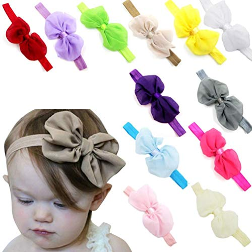 Voberry Baby-Girl's s Chiffon Flower Elastic Headband Photography Headbands Pack Of 12 Circumference:32-48cm Random Color