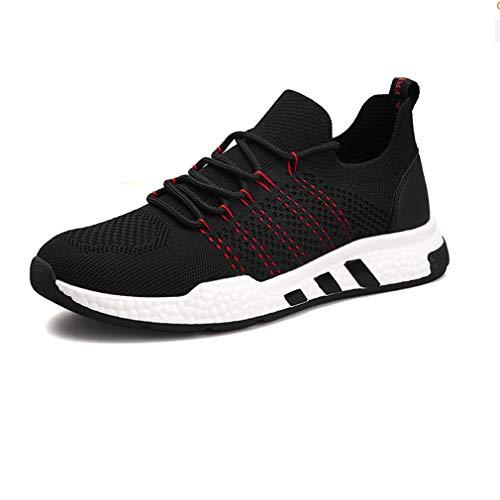 ECSD Herren Tennisschuhe Slip-on-Strick Walking Laufen Gym Sneakers (Farbe : Red, größe : EU42/UK8.5/CN43)