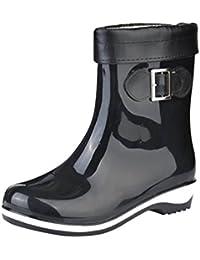 LvRao Mujeres Botas de Lluvia Nieve a Prueba de Agua | Botines Liso Zapatos de Goma Tacón Alto