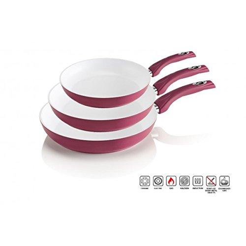 Kit pack set 3 sartenes de cerámica antibacterianas varios colores 20 - 24 - 28 - Rosa claro