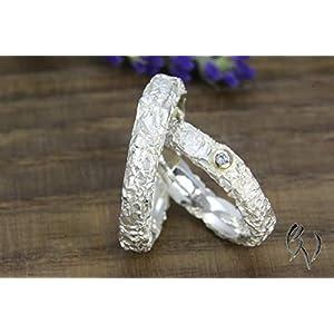 Zwei schmale Ringe aus Silber 925/-, Zerknittert, 4 mm, Knitterring, Paar