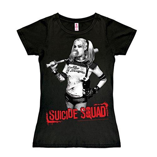 T-shirt donna Suicide Squad - Harley Quinn - Squadra Suicida - DC Comics - nero - design originale concesso su licenza - LOGOSHIRT, taglia L