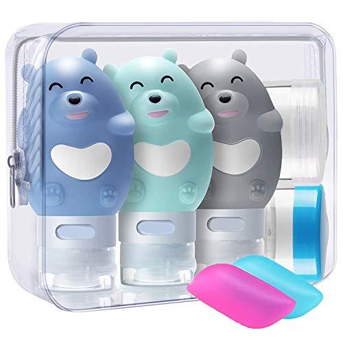 3 Stück Bär Silikon Reise Flaschen Set - BPA-frei und TSA-Airline Genehmige Reiseflaschen - Reisebehälter mit Etikett für Shampoo/Duschgel/Kosmetik Flüssigkeit (80 ml) Penguin Gel