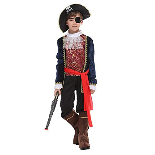 VHVCX Halloween-Kostüme für Junge Kostüme One Eye Deluxe Pirate Cosplay Set für Jungen-Kind-Partei Dress Up, XL