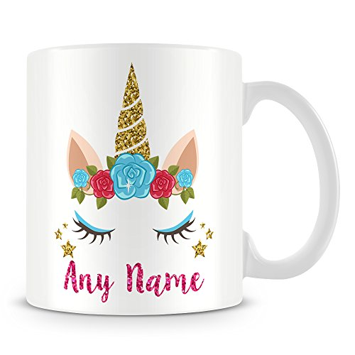 Unicorn Mug - Unicorn Horn and Eyes Mug - add any name
