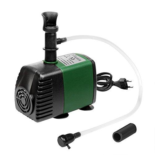 Wasserpumpe Tauchpumpe 145GPH mit Oxygenation Air Intake, Wasserpumpe mit 1.47ft hohem Lift, Fontänenpumpe mit 4.5ft Netzkabel, 2 Düsen für Aquarium, Teich, Aquarium, Statuary, Hydroponics (Air-filter System)
