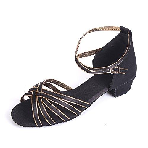 Wuyulunbi@ ballo latino scarpa acrobatico solo scarpe da ballo Tong - Nero Serie Oro