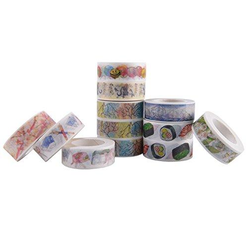 funyoung-tapes-washi-set-autocollant-papier-10er-dcoratif-ruban-color-ruban-roll-band-masking