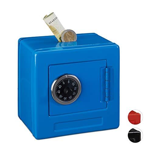 Relaxdays Hucha Caja Fuerte combinación niños, Hierro-plástico