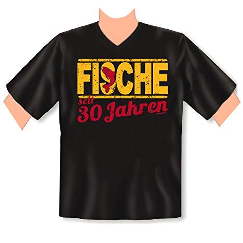 V-Neck T-Shirt ::: Fische seit 30 Jahren ::: zum Geburtstag Schwarz