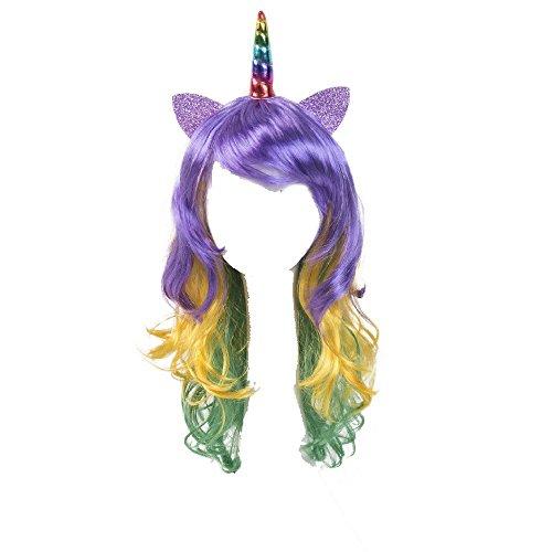 coolMYP Mädchen Karneval Kostüm Festival Little Pony Einhorn Regenbogen Perücke & Haarreifen (Bunt-Horn)