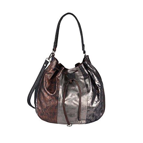 OBC DAMEN HAND-TASCHE Shopper Hobo-Bag Schultertasche Umhängetasche Henkeltasche Beuteltasche METALLIC Silber Schultertasche Bronze (Bronze Hobo)
