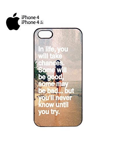 You Will Never Know Until You Try Quote Mobile Phone Case Back Cover Coque Housse Etui Noir Blanc pour for iPhone 6 White Noir