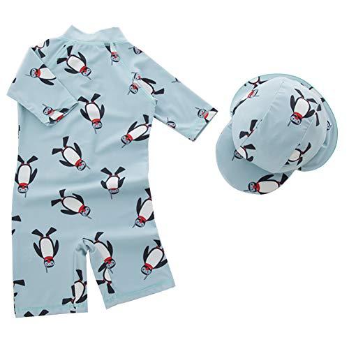 Cherry Mädchen Badeanzug (HAPPY CHERRY Badeanzug mit Bademütze UV-Schutz Einteiliger Bademode mit Niedlichen Pinguin Drucken Strand Swimwear Jungen Schwimmanzüge Kinder Kurzarm Taucheranzug - Größe 5T)