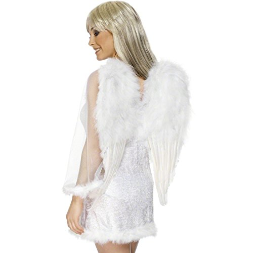 Amakando Engelflügel weiß Engel Flügel 50 cm x 60 cm Weiße Federflügel Kostümflügel ()