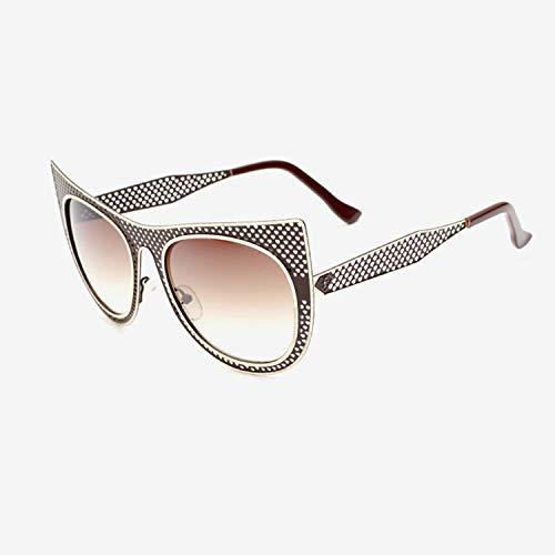ShengEnn Sonnenbrillen für Frauen-Funny Sonnenbrillen, personalisierte Cat Eye Brillen Modetrend Sonnenbrillen Sonnenbrillen mit großem Gestell Braun