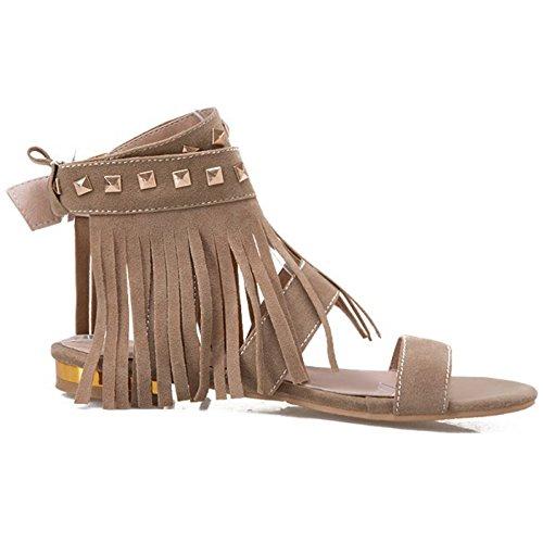COOLCEPT Femmes Mode Cheville Sandales Orteil ouvert Slingback Chaussures With Franges Kaki