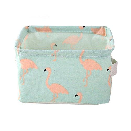 Flamingo Aufbewahrungskorb/Organizer, faltbare Leinentasche, wasserdicht, leicht, für Schreibtisch, Schmuck, Kosmetik, perfekt für Schlafzimmer, Schrank, Spielzeug und Wäsche