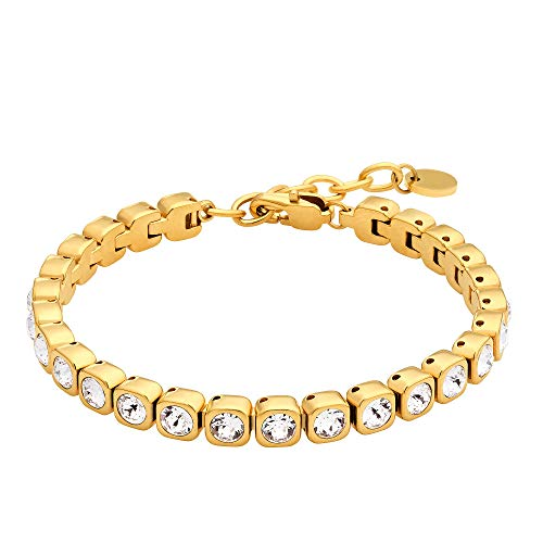 Heideman Armband Damen Amilla III aus Edelstahl Gold farbend matt Tennisarmband mit Swarovski Steinen Weiss mit Verlängerung Armkette Schmuck